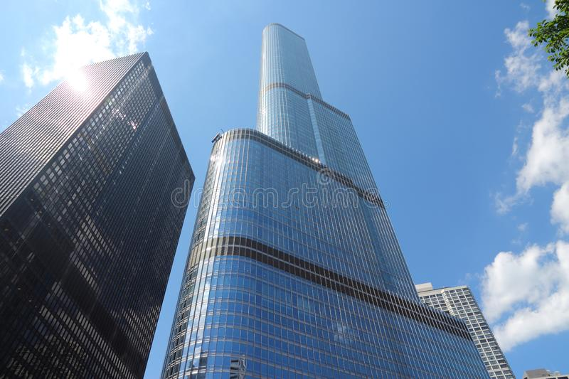 Trump Tower Chicago. CHICAGO, USA - JUNE 28, 2013: Trump International Hotel & Tower in Chicago. It is 423m tall and was finished in 2009. As of 2013 it is 2nd stock photography