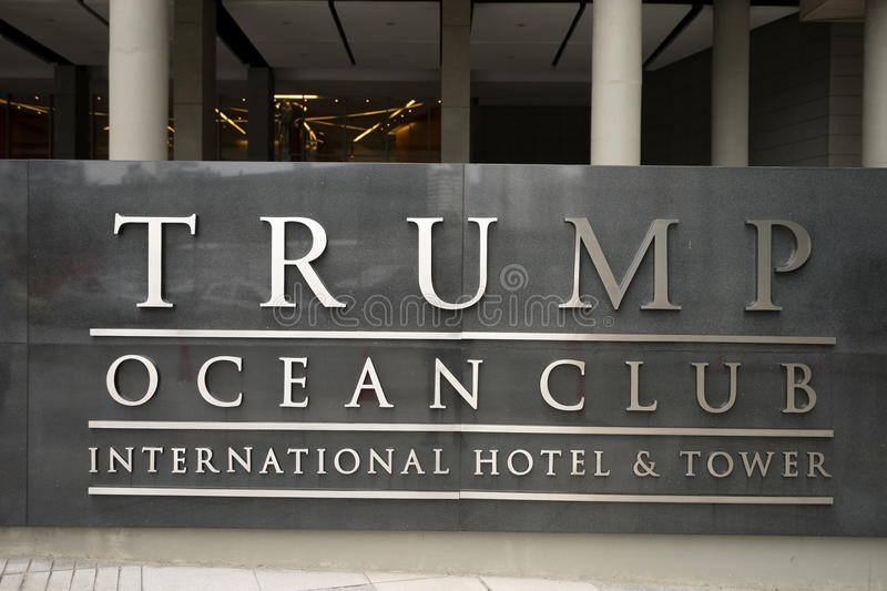 Trump tower entrance in Panama. July 2, 2016 Panama City, Panama: the entrance of the Trump Ocean Club international hotel and tower royalty free stock photo