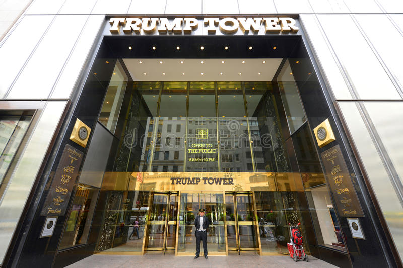 Trump Tower, Manhattan, New York City. Trump Tower Main Entrance on Fifth Avenue in midtown Manhattan, New York City, USA royalty free stock photos