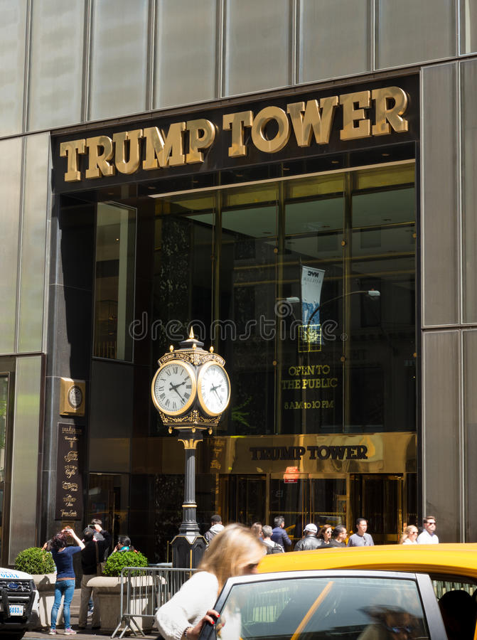 Trump tower in new york. NEW YORK - APRIL 30, 2016: Trump tower in midtown manhattan. Trump Tower serves as the headquarters for The Trump Organization and royalty free stock photos