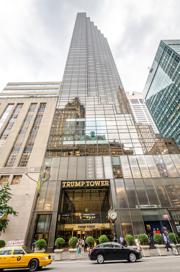 Trump Tower. NEW YORK CITY - JUL 17: Trump Tower view from the street on July 17, 2014 in New York. Trump Tower is a 58-story mixed-use skyscraper located at 725 stock image
