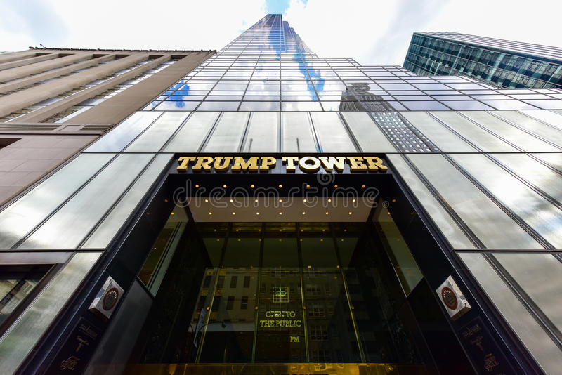 Trump Tower - New York City. New York City - June 25, 2017: Gold facade of Trump Tower, the 68 story skyscraper home to Trump Organization political headquarters stock image