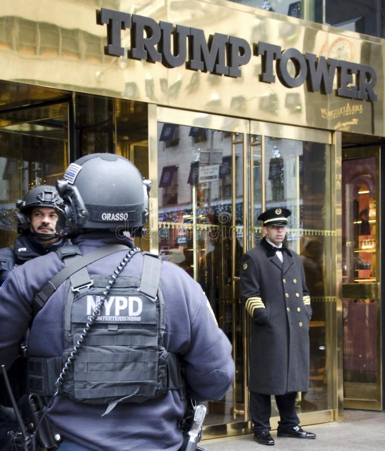 Trump Tower. New York Police Department counterterrorism police with machine guns on guard at Trump Tower in New York City where president elect Donald Trump royalty free stock photo
