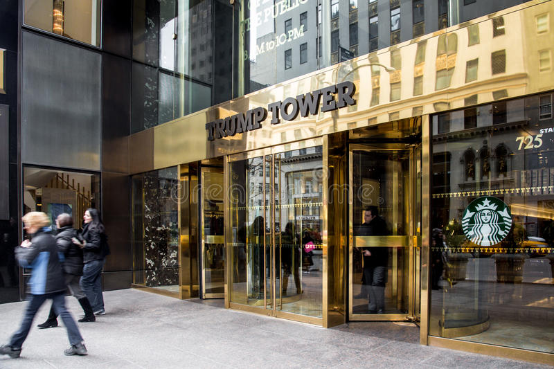 Trump Tower NYC. NEW YORK CITY, NY - MARCH 14, 2014: Entrance at landmark Trump Tower on Fifth Avenue in midtown Manhattan. Developed by Donald Trump this tower stock images