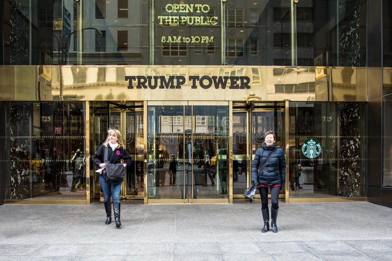 Trump Tower NYC. NEW YORK CITY, NY - MARCH 14, 2014: Entrance at landmark Trump Tower on Fifth Avenue in midtown Manhattan. Developed by Donald Trump this tower royalty free stock photo
