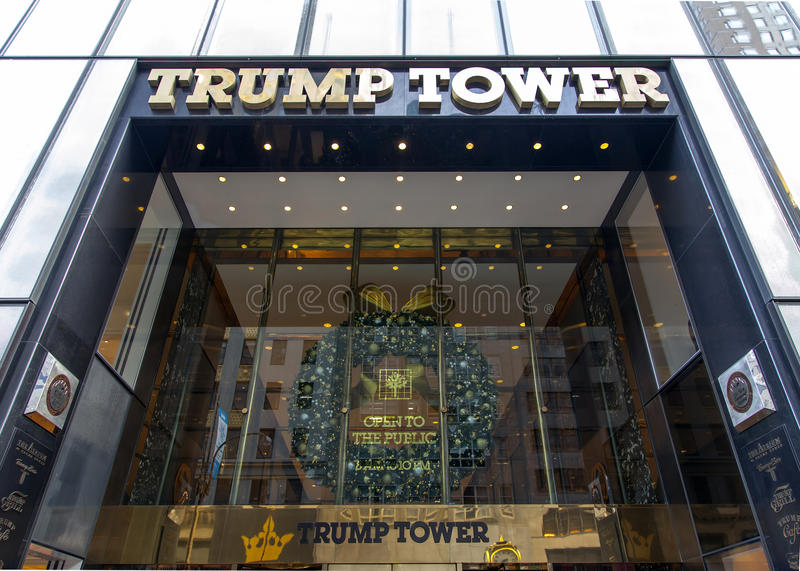 Trump tower in NYC. NEW YORK, NEW YORK - DECEMBER 19: Entrance to Trump Tower on 56th street and 5th avenue in Manhattan. Taken December 19, 2016 in New York stock photos