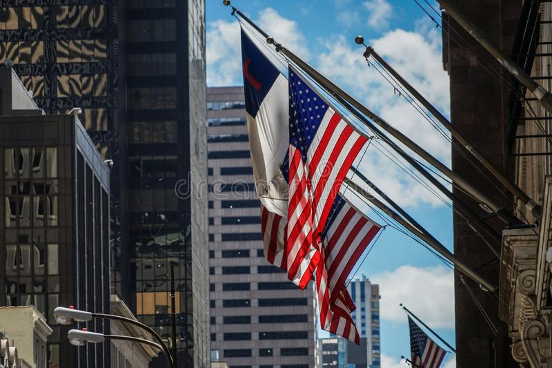 Trump Tower and Stars and Stripes. Shooting location : Manhattan, New York stock image