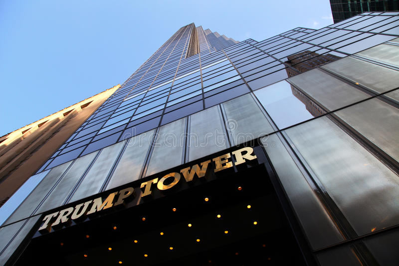Trump Tower. The view of the Trump Tower on the blue sky background royalty free stock images