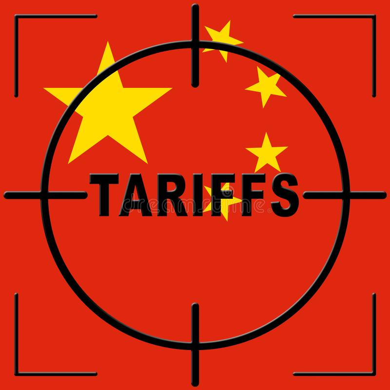 Trump Trade Tariffs On China As Levy And Penalty - 2d Illustration. Trump Trade Tariffs On China As Levy And Penalty. Usa Finance Economy Trading Taxation - 2d stock illustration