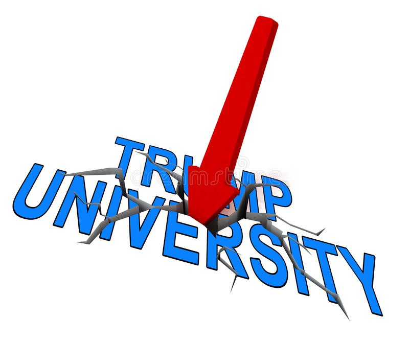 Trump University Student Training College By Donald - 3d Illustration. Trump University Student Training College By Donald. Lawsuits Alledge Unlawful Or Illegal stock illustration