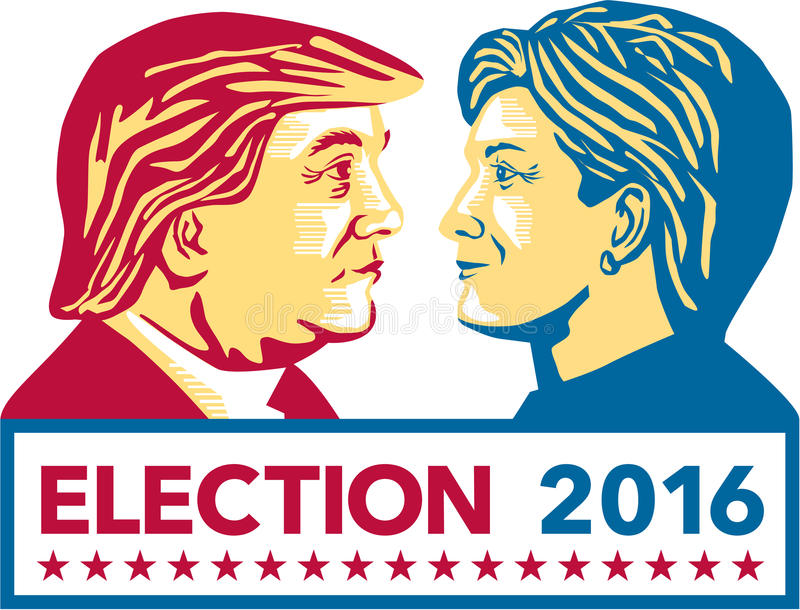 Trump Versus Clinton Election 2016. Illustration showing Republican Donald Trump versus Democrat Hillary Clinton face-off for American president with words