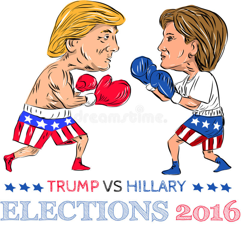 Trump Vs Hillary 2016 Election Boxing. Illustration showing as a boxer Republican Donald Trump versus Democrat Hillary Clinton in a boxing match with words stock illustration
