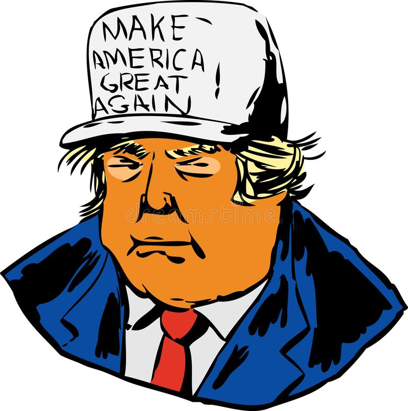 Trump wearing white MAGA hat. December 12, 2017. Caricature of President Donald J. Trump wearing a MAGA hat over white background stock illustration