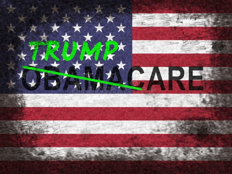 Trumpcare ou abrogation de santé de soin d'atout d'Obamacare - 2d illustration illustration libre de droits