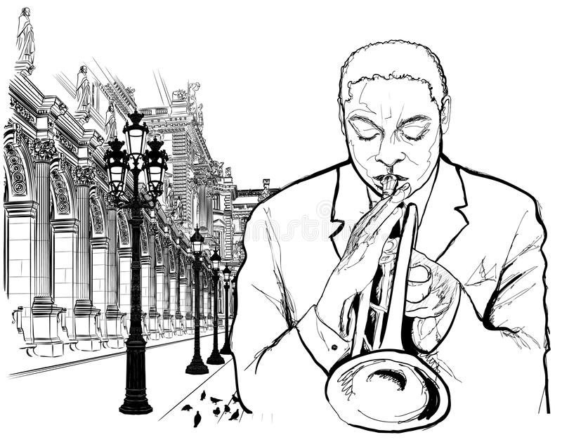 trumpet игрока paris бесплатная иллюстрация
