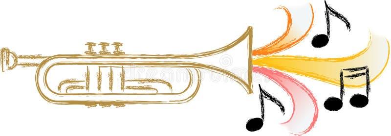 trumpet нот джаза eps иллюстрация вектора
