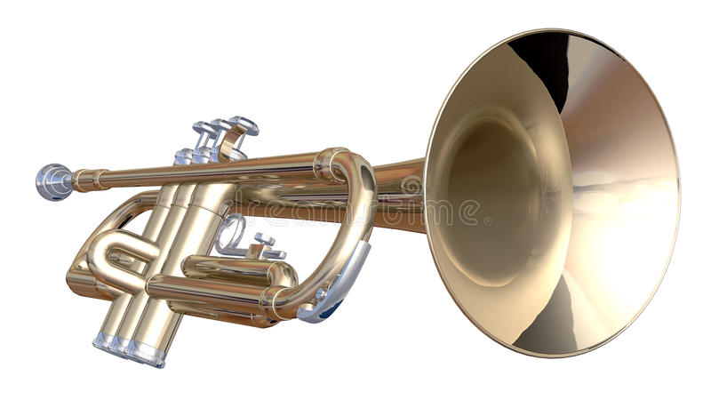 Trumpet. Isolated trumpet on a white background royalty free illustration