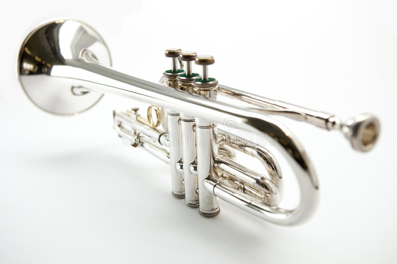Download Trumpet stock image. Image of trumpeter, path, white - 14201593