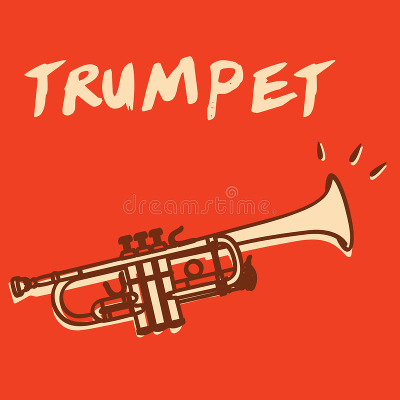 Trumpet vector. Illustrations of a trumpet, retro style + vector eps file vector illustration