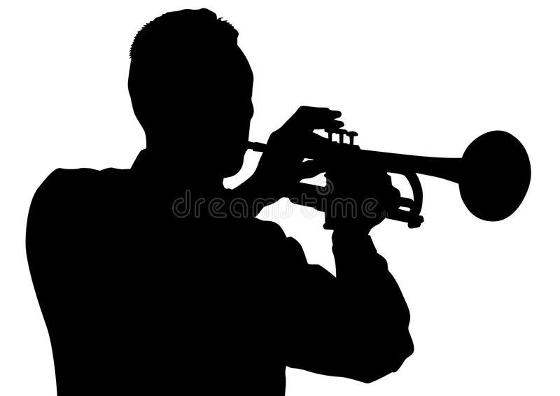 Trumpet. Drawing of a man with trumpet on stage vector illustration
