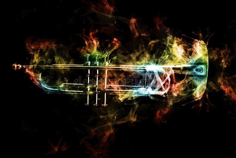 Trumpet Abstract Jazz Smoke. Abstract smoke billows around jazz brass trumpet stock photo