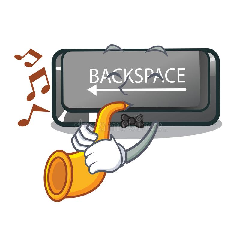 With trumpet backspace button installed on cartoon keyboard royalty free illustration