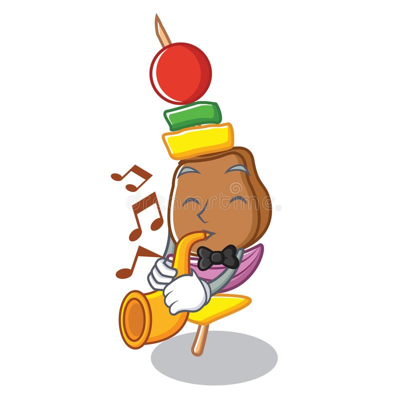 With trumpet barbecue character cartoon style vector illustration