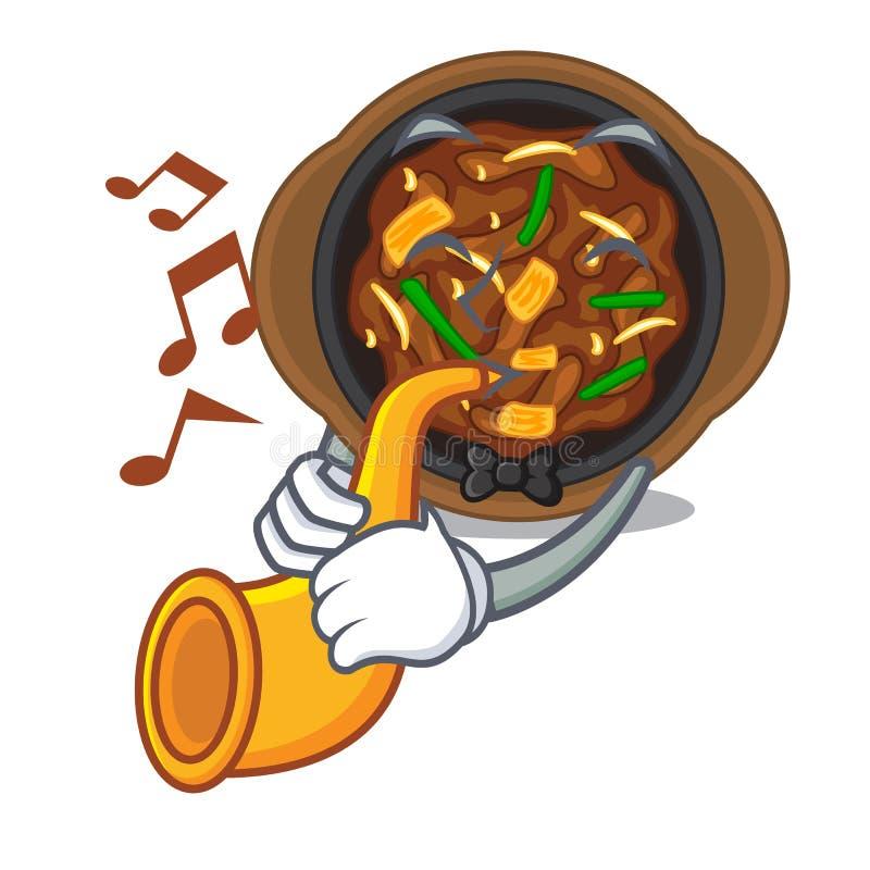 With trumpet bulgogi in the a cartoon shape vector illustration