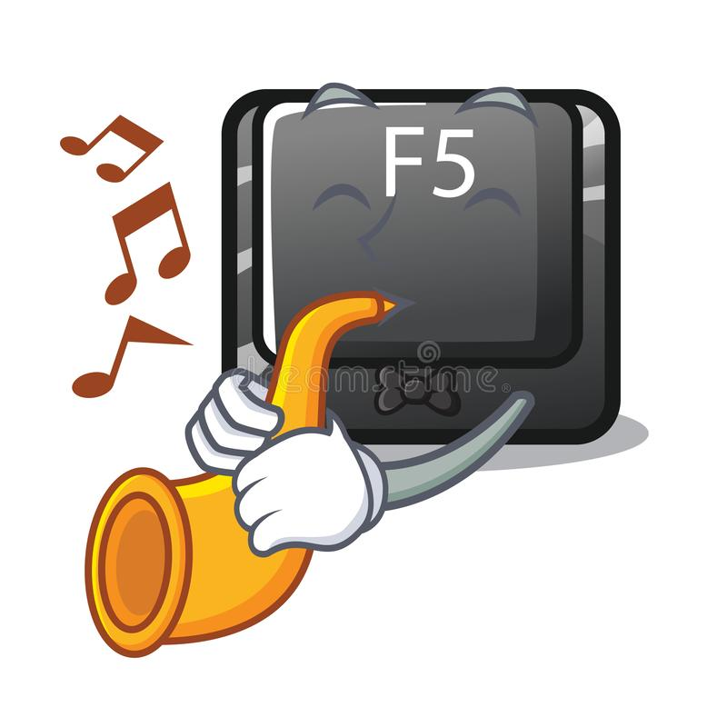 With trumpet button f5 in the shape cartoon vector illustration