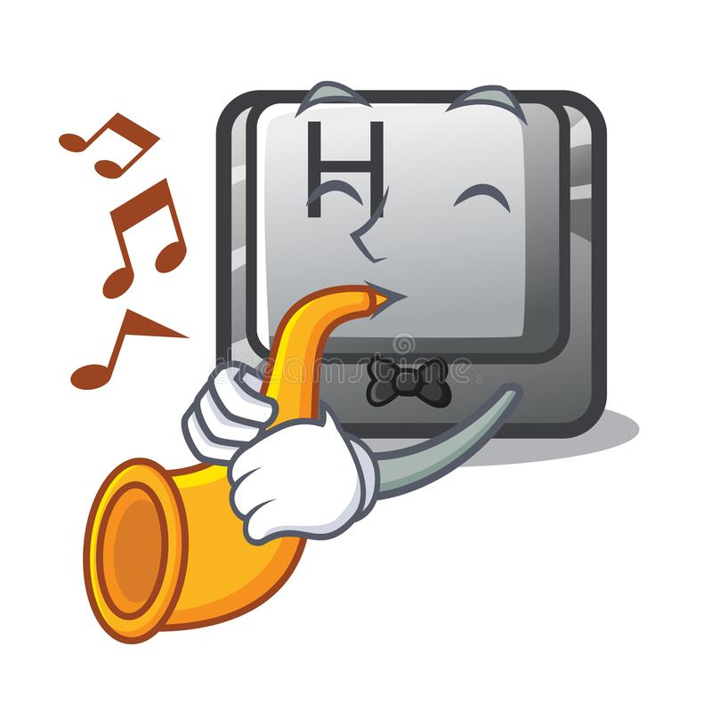 With trumpet button H isolated with the mascot vector illustration