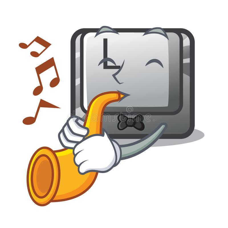 With trumpet button L isolated in the cartoon stock illustration