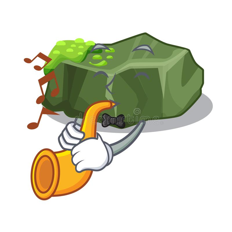 With trumpet cartoon large stone covered with green moss royalty free illustration