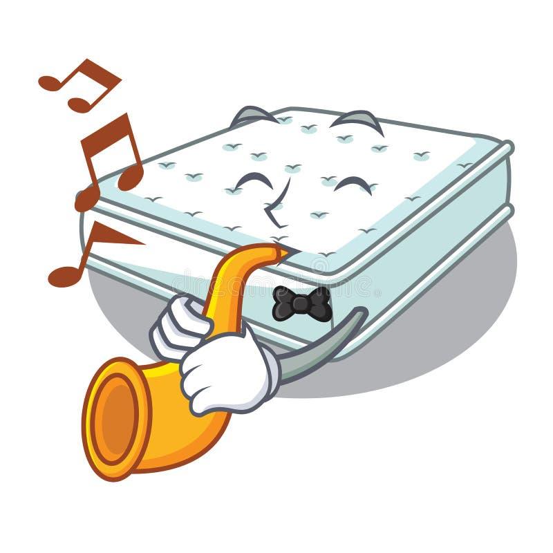 With trumpet cartoon mattress the made to sleep. Vector illustartion vector illustration