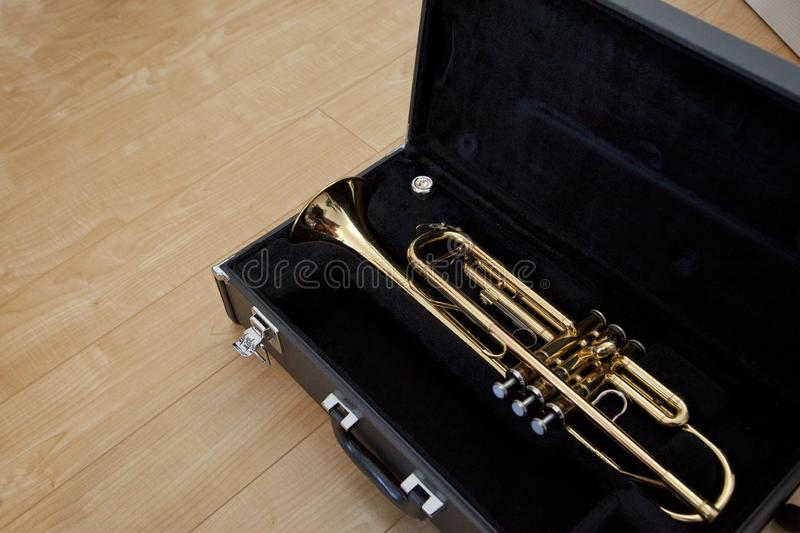 Trumpet in a case royalty free stock photography