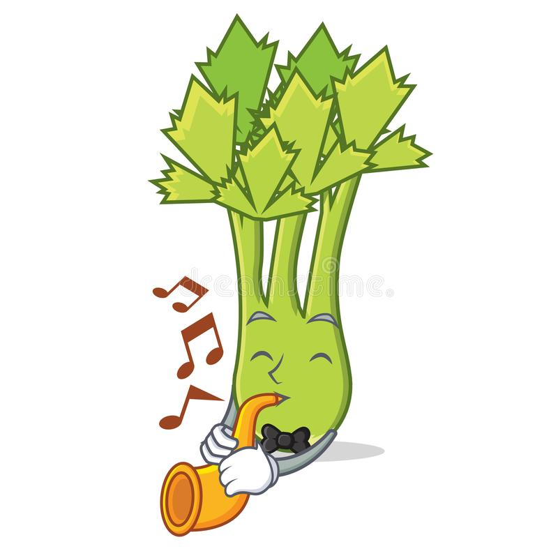 With trumpet celery mascot cartoon style. Vector illustration royalty free illustration