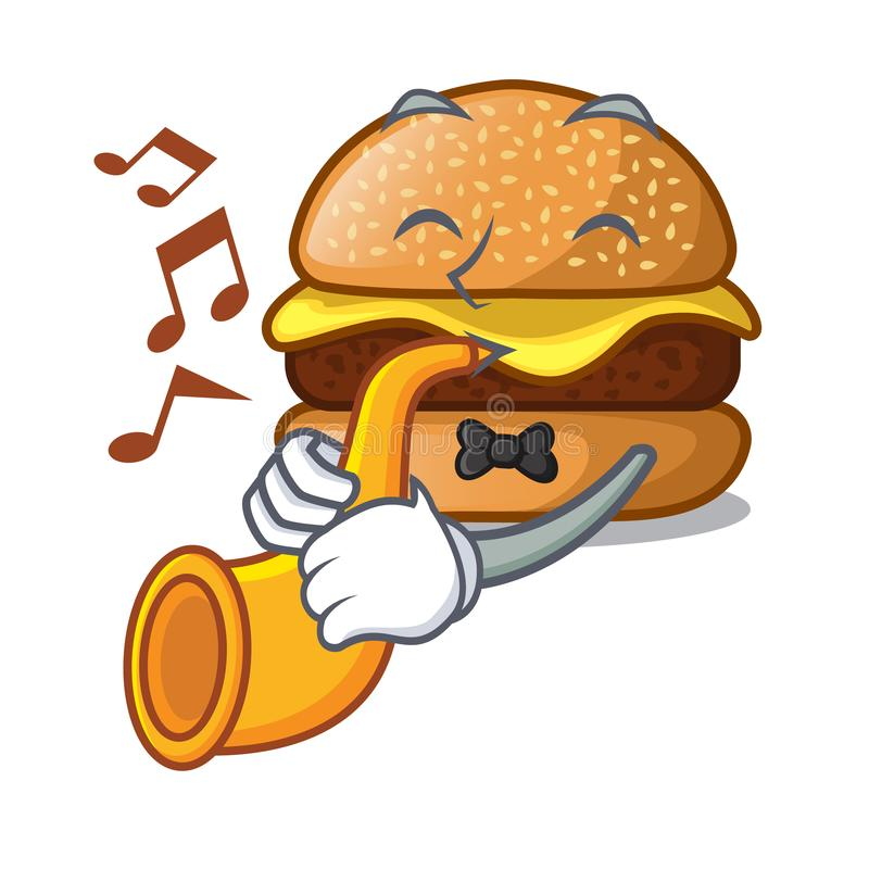 With trumpet cheese burger located on plate cartoon royalty free illustration