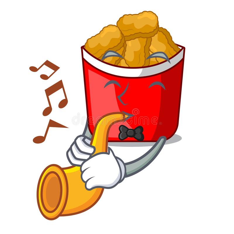 With trumpet chicken nuggets in the cartoon shape royalty free illustration