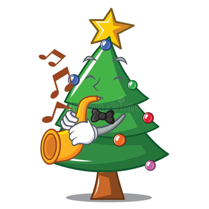 With trumpet Christmas tree character cartoon royalty free illustration