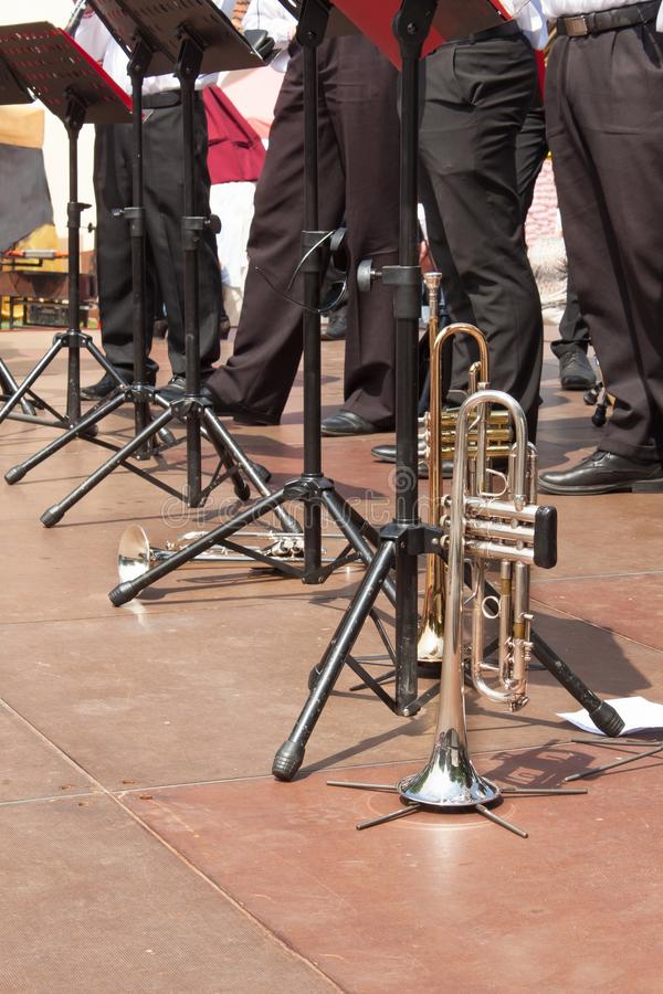 Trumpet on the concert stage. Musical performances royalty free stock images