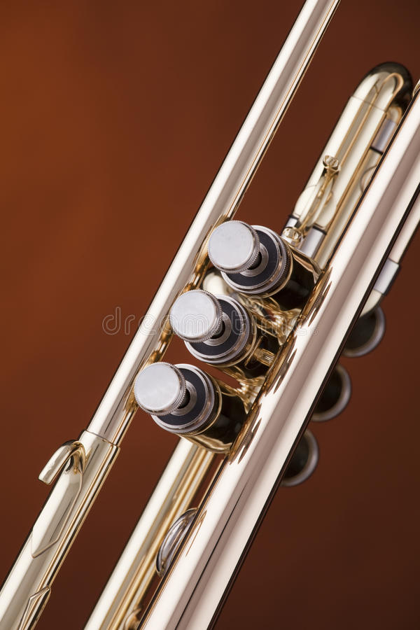 Trumpet Cornet Isolated On Gold Royalty Free Stock Photos
