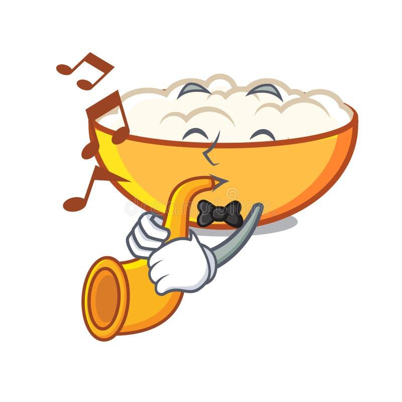 With trumpet cottage cheese mascot cartoon. Vector illustration stock illustration