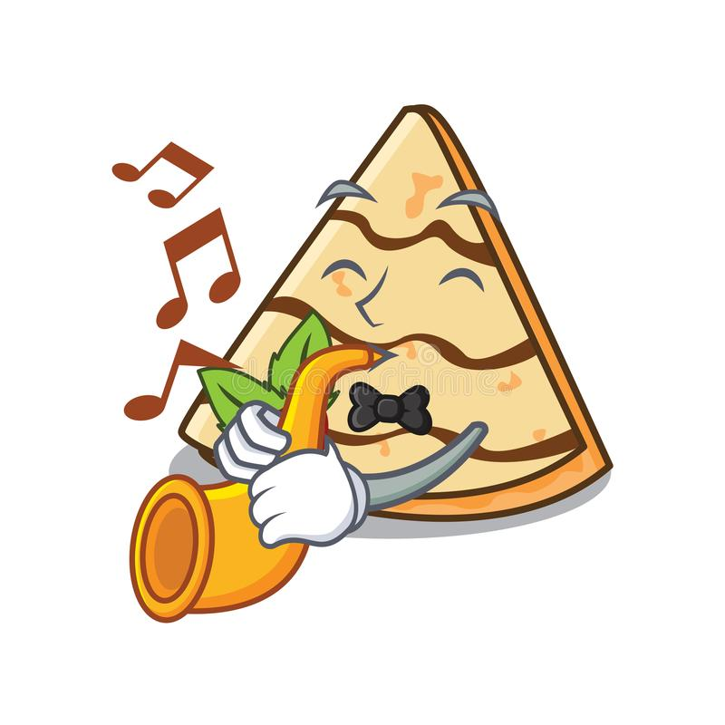 With trumpet crepe mascot cartoon style royalty free illustration