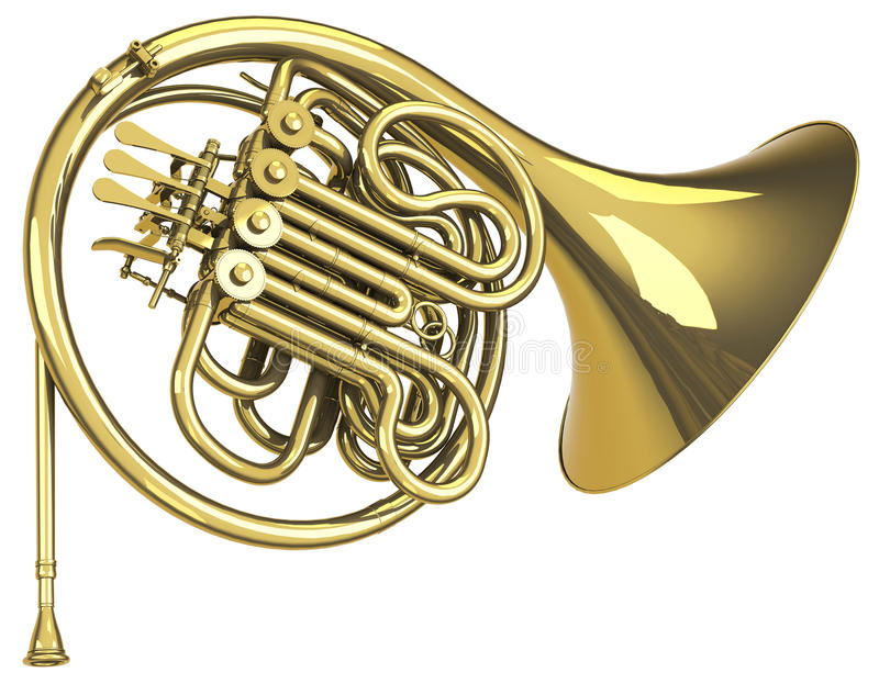 The trumpet. 3d generated picture of a golden trumpet royalty free illustration
