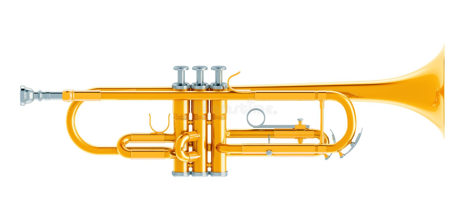 Trumpet, 3d rendering. Isolated on white background stock illustration