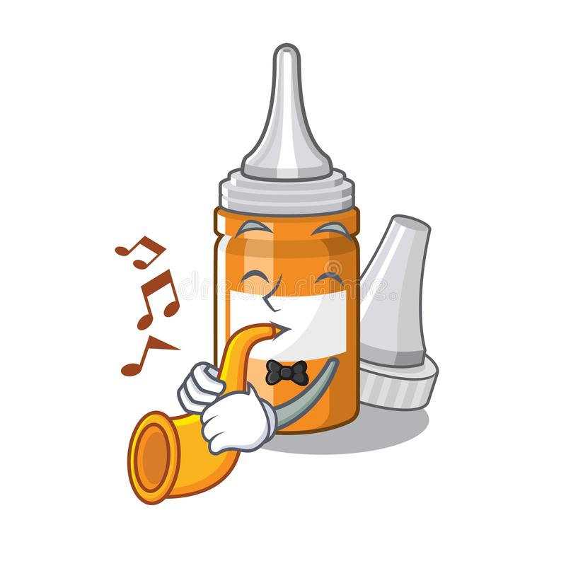 With trumpet ear drops in the mascot pillbox. Vector illustration vector illustration