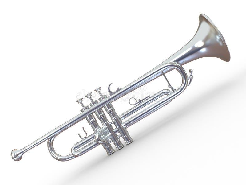 trumpet för silver 3d royaltyfri illustrationer