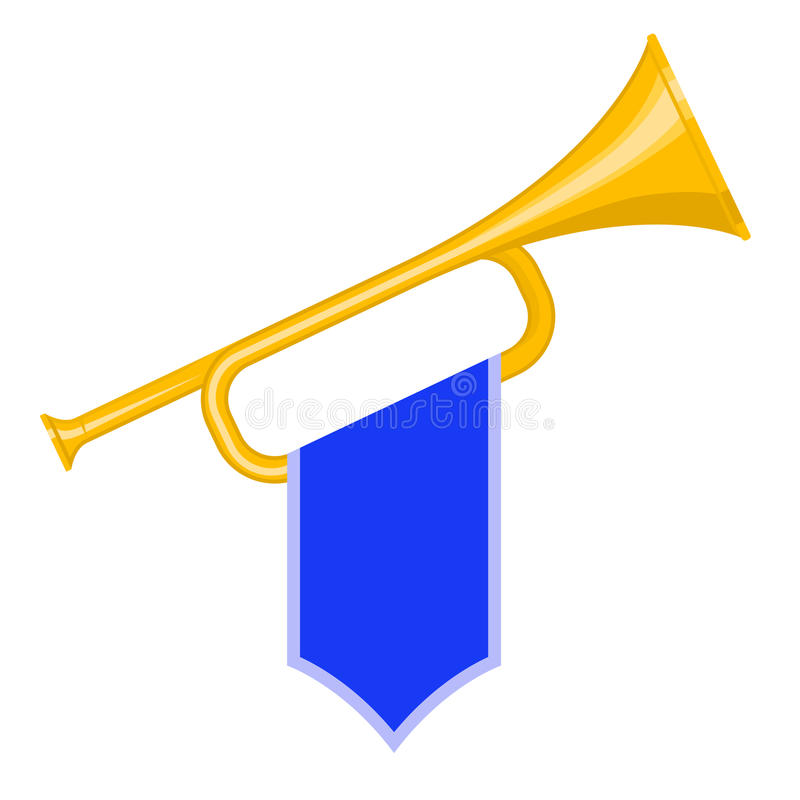 Trumpet with flag. Trumpet with blue flag icon. Brass Bugle Cartoon Illustration. Horn Flat design. vector royalty free illustration
