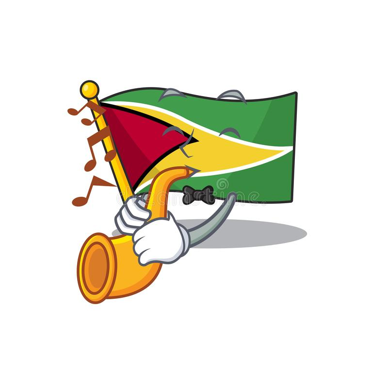 With trumpet flag guyana as with cartoon design. Vector illustration vector illustration