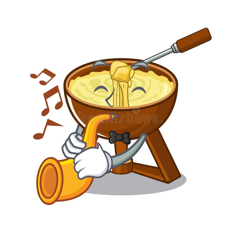 With trumpet fondue cheese served in cartoon bowl stock illustration