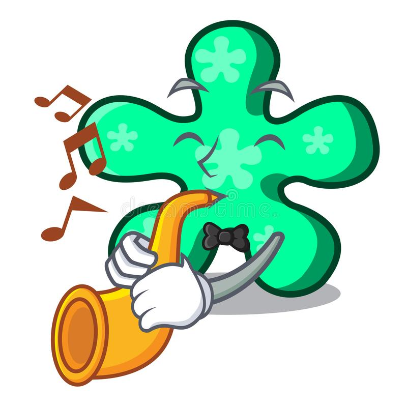 With trumpet free form mascot cartoon. Vector illustration royalty free illustration